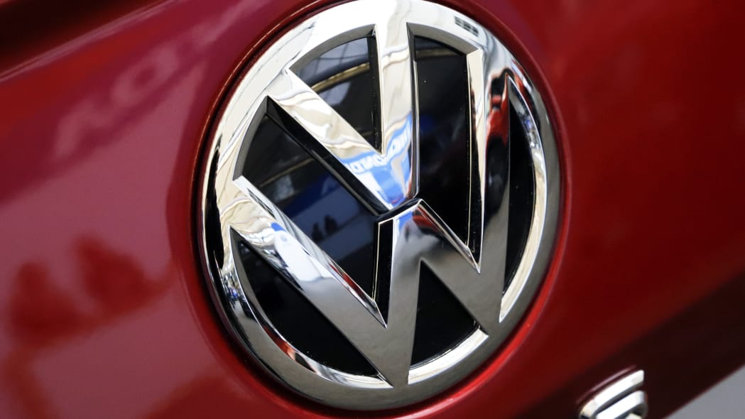 This is the Volkswagen logo on a 2020 Volkswagen Passat automobile at the 2019 Pittsburgh International Auto Show in Pittsburgh Thursday, Feb. 14, 2019. (AP Photo/Gene J. Puskar)