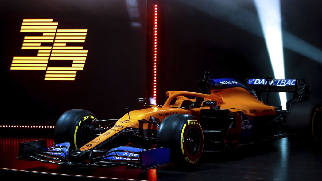 IMAGE DISTRIBUTED FOR MCLAREN - McLaren unveils its 2020 Formula 1 car, the MCL35, at the McLaren Technology Centre on Thursday, Feb. 13, 2020, in Woking, United Kingdom. Press release and full launch media assets available to download at http://www.apmultimedianewsroom.com/multimedia-newsroom/mclaren-reveals-the-mcl35-to-the-world. (Zak Mauger/McLaren via AP Images)