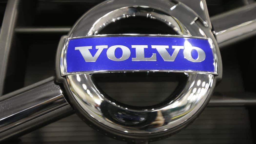 In this Friday, Jan. 18, 2013 photo, shown is a Volvo emblem at the Philadelphia Auto Show in Philadelphia. (AP Photo/Matt Rourke)