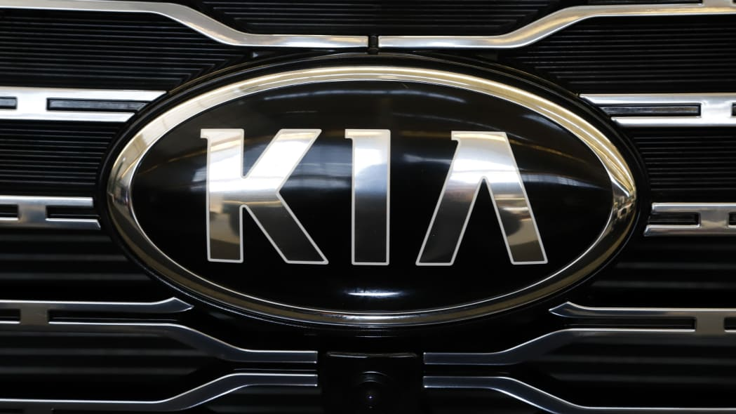 This is the front grill of a 2020 KIA Telluride on display at the 2020 Pittsburgh International Auto Show Thursday, Feb.13, 2020 in Pittsburgh. (AP Photo/Gene J. Puskar)