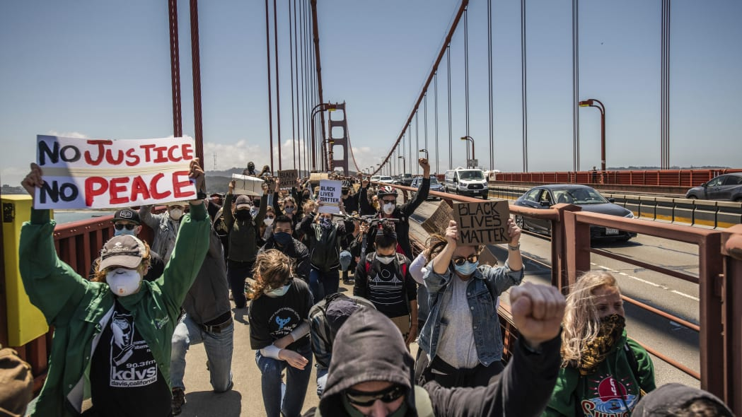 SAN FRANCISCO, CA- JUNE 6: Protestors demonstrate on the Golden Gate Bridge in Francisco, California on June 6, 2020 after the death of George Floyd. Credit: Chris Tuite/ImageSPACE/MediaPunch /IPX