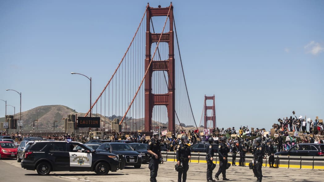 SAN FRANCISCO, CA- JUNE 6: Protestors demonstrate near the entrance to the Golden Gate Bridge in San Francisco, California on June 6, 2020 after the death of George Floyd. Credit: Chris Tuite/ImageSPACE/MediaPunch /IPX