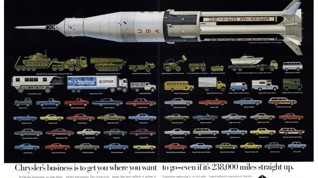 Ad promotes Chrysler's work on the Saturn I and IB launch vehicles.