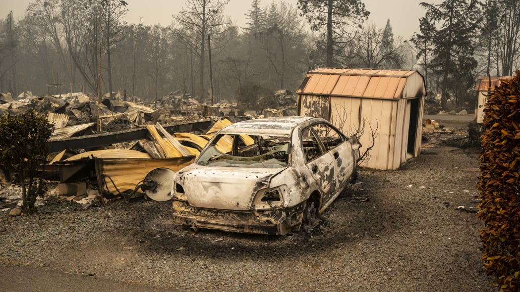 ASHLAND, OR - SEPTEMBER 11: The remnants of a mobile home park that was destroyed by wildfire are seen on September 11, 2020 in Ashland, Oregon. Hundreds of homes in Ashland and nearby towns have been lost due to wildfire. (Photo by David Ryder/Getty Images)