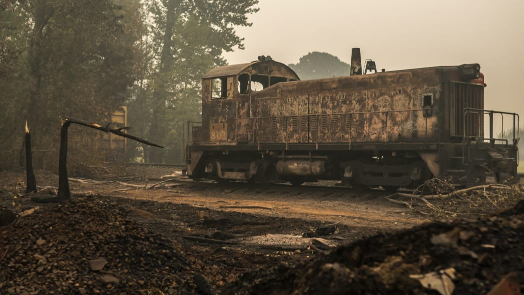 MOLALLA, OR - SEPTEMBER 10:  A burned railcar sits abandoned in a lumber yard on September 10, 2020 in Sandy, Oregon. Multiple wildfires grew by hundreds of thousands of acres Thursday, prompting large-scale evacuations throughout the state.  (Photo by Nathan Howard/Getty Images)
