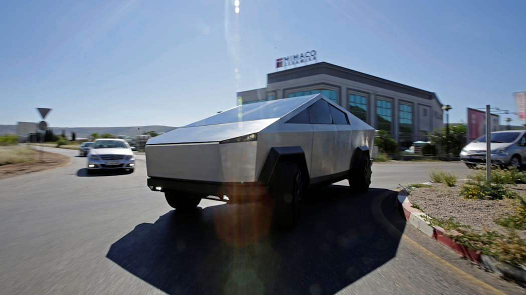 Tesla Cybertruck replica is seen on the street in Mostar, Bosnia and Herzegovina September 4, 2020. Impatient Bosnian specialist builds a replica of Tesla's Cybertruck ahead of its official release in late 2021. Picture taken September 4, 2020. REUTERS/Dado Ruvic