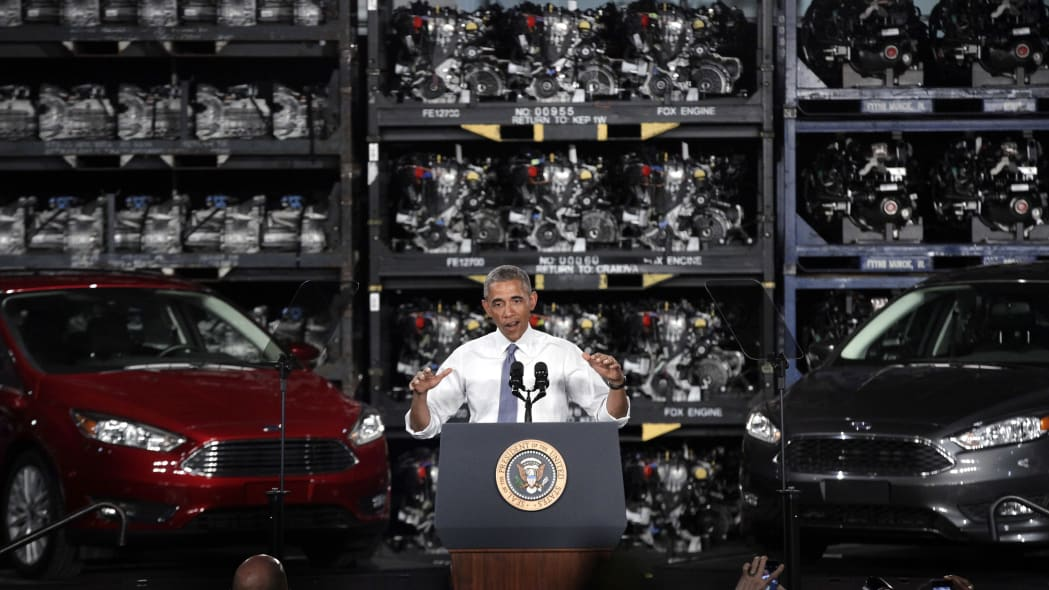 President Barack Obama speaks at the Ford Michigan Assembly Plant in Wayne, Mich., Wednesday, Jan. 7, 2015. (AP Photo/Paul Sancya)