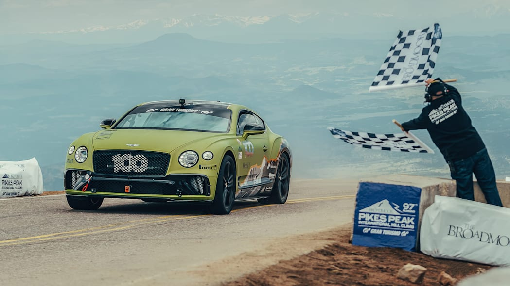 2019 Bentley Continental GT Pikes Peak race car at the finish line