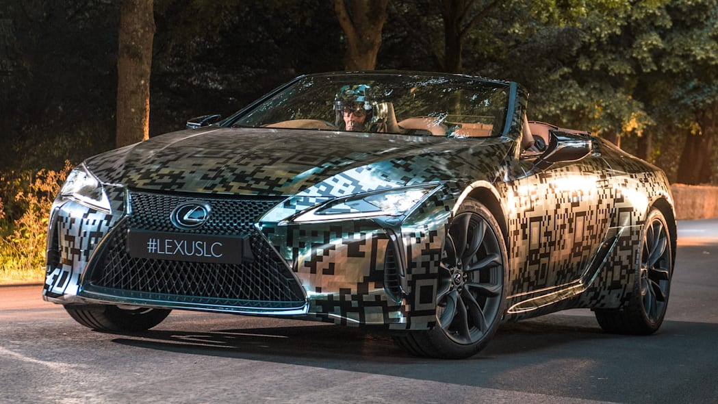 Lexus LC Convertible prototype in silver camouflage
