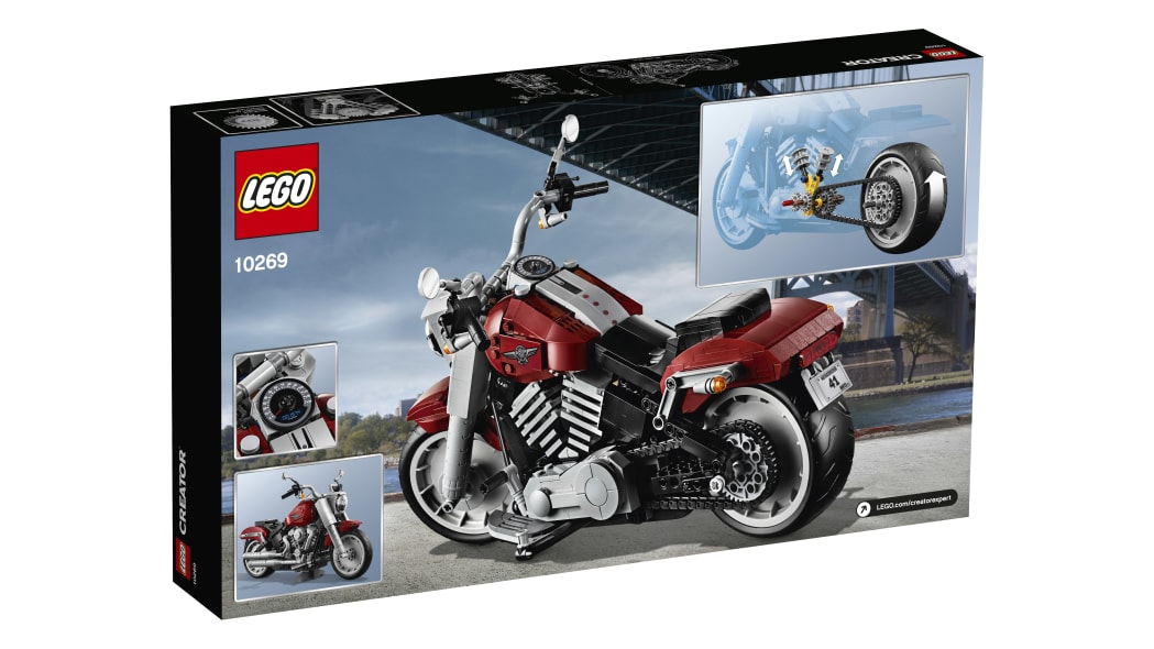 2019 Harley-Davidson Fat Boy Lego kit rear of box
