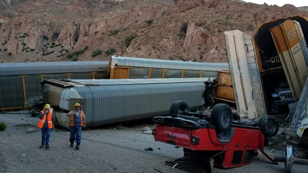 Nevada pickup transport train derailment