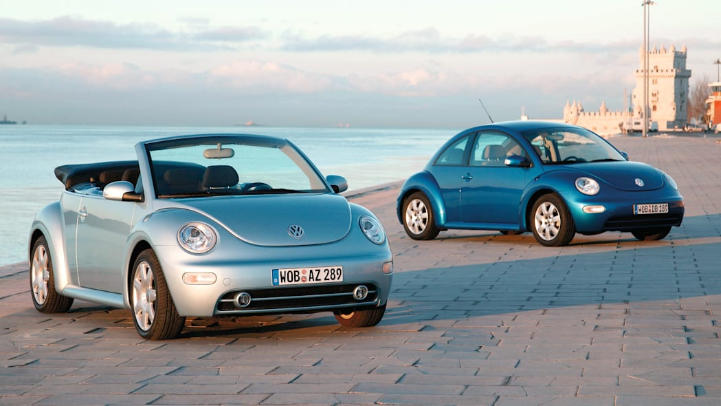 Volkswagen New Beetle and New Beetle Cabriolet on the beach
