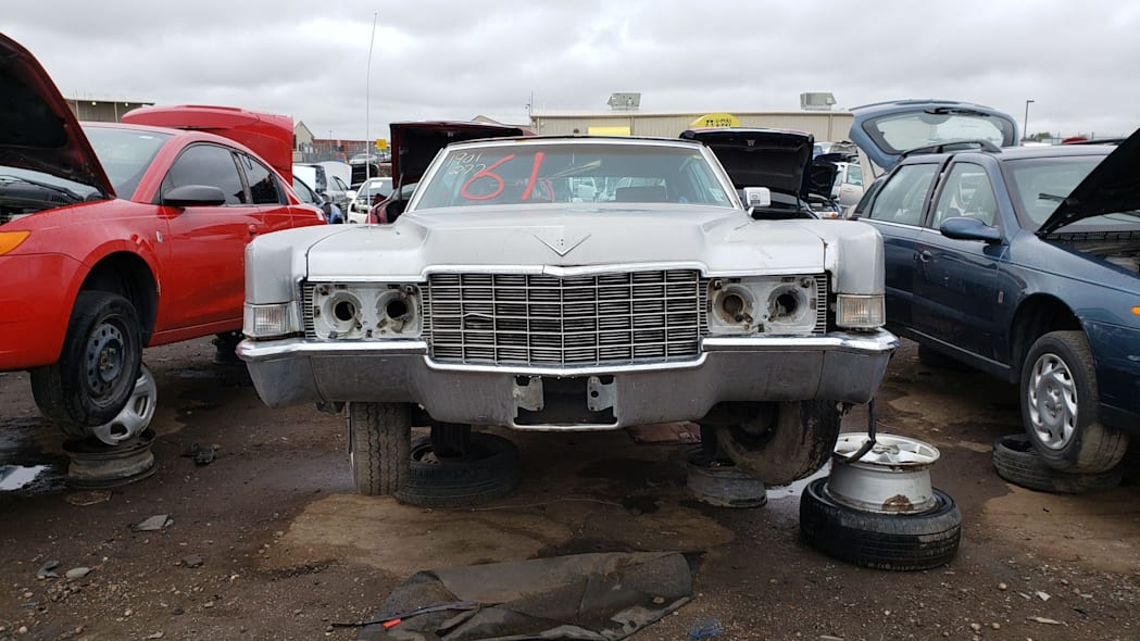 24 - 1969 Cadillac Deville in Colorado wrecking yard - photo by Murilee Martin