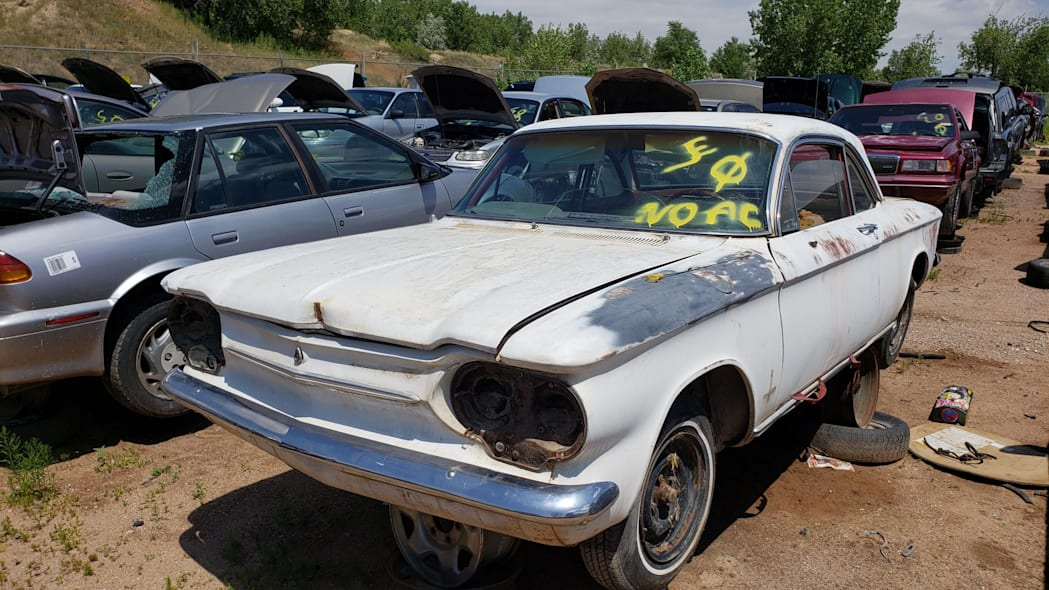 35 - 1963 Chevrolet Corvair Monza in Colorado wrecking yard - photo by Murilee Martin