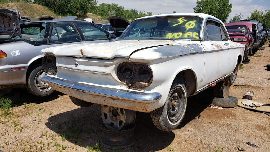 36 - 1963 Chevrolet Corvair Monza in Colorado wrecking yard - photo by Murilee Martin