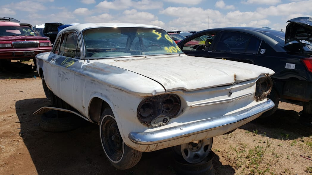 40 - 1963 Chevrolet Corvair Monza in Colorado wrecking yard - photo by Murilee Martin
