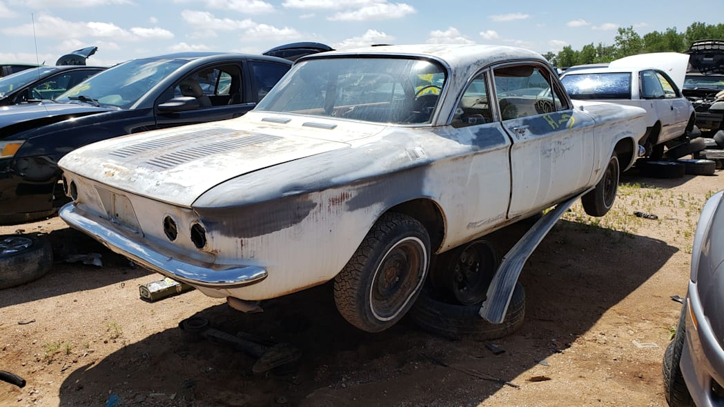 46 - 1963 Chevrolet Corvair Monza in Colorado wrecking yard - photo by Murilee Martin