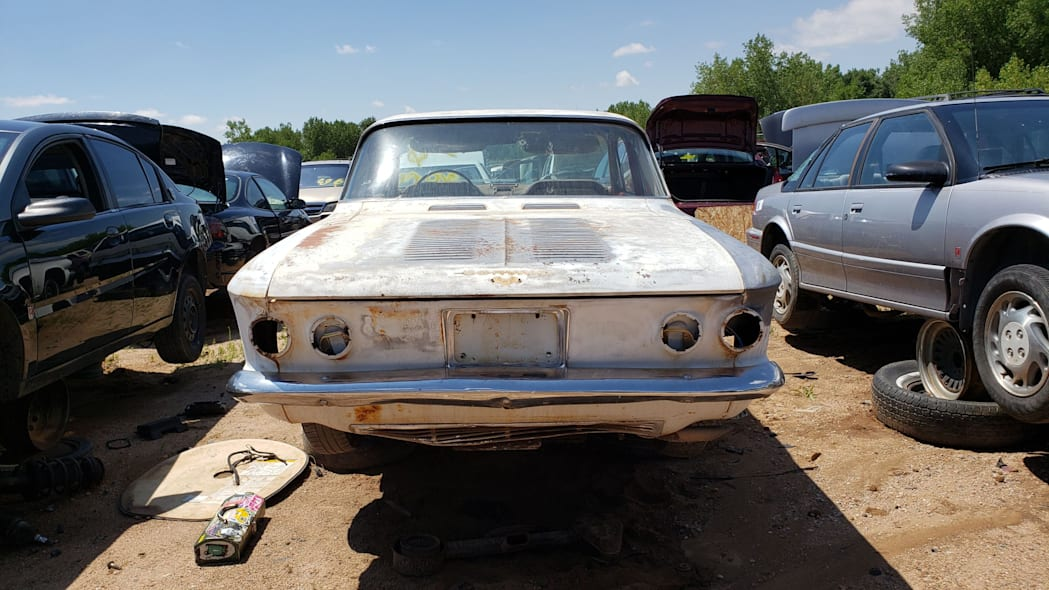 48 - 1963 Chevrolet Corvair Monza in Colorado wrecking yard - photo by Murilee Martin