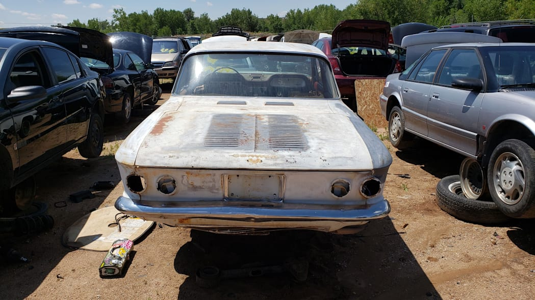 49 - 1963 Chevrolet Corvair Monza in Colorado wrecking yard - photo by Murilee Martin