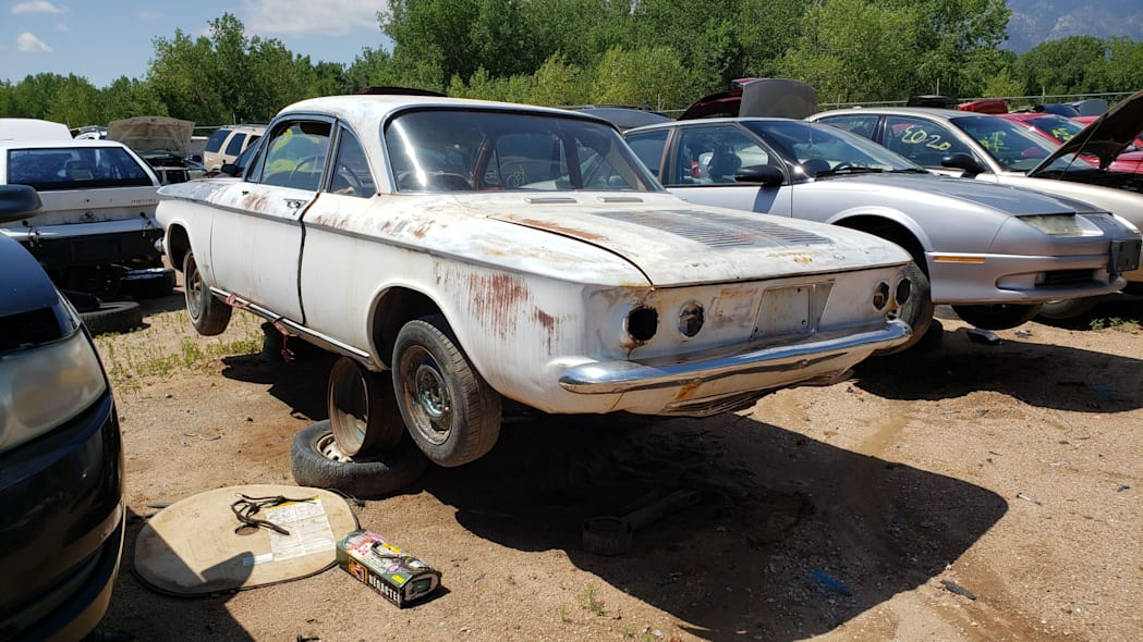 50 - 1963 Chevrolet Corvair Monza in Colorado wrecking yard - photo by Murilee Martin