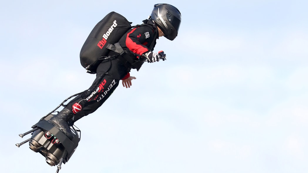 French inventor Franky Zapata takes off on a Flyboard for a second attempt to cross the English channel from Sangatte to Dover, in Sangatte