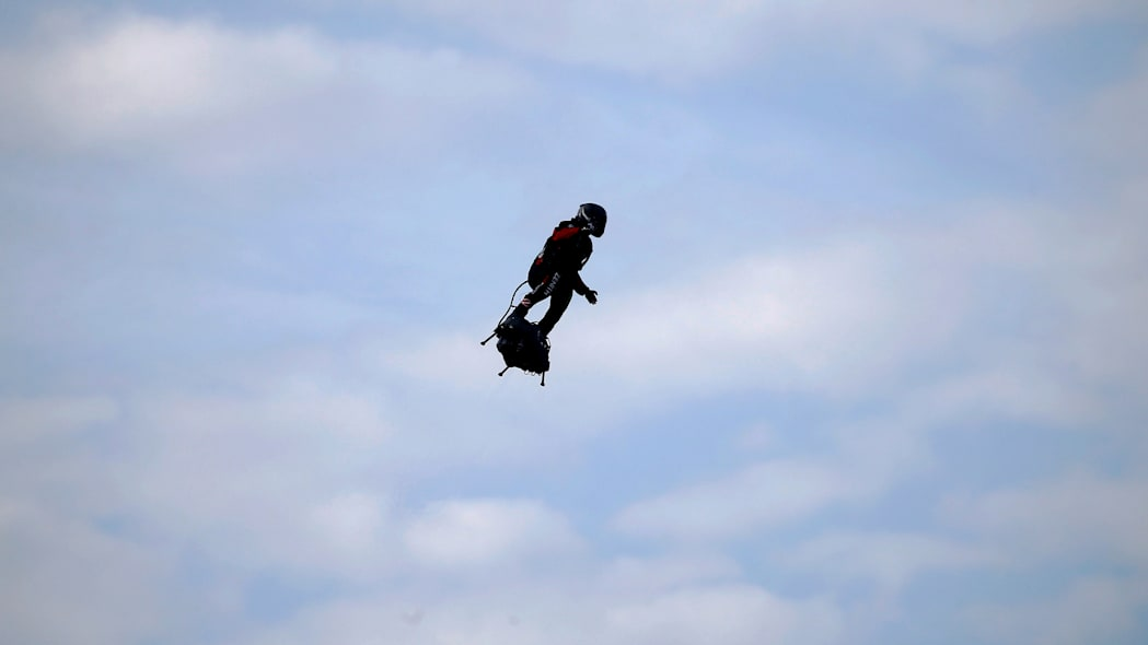 French inventor Franky Zapata arrives to Dover on a Flyboard during his second attempt to cross the English channel from Sangatte to Dover