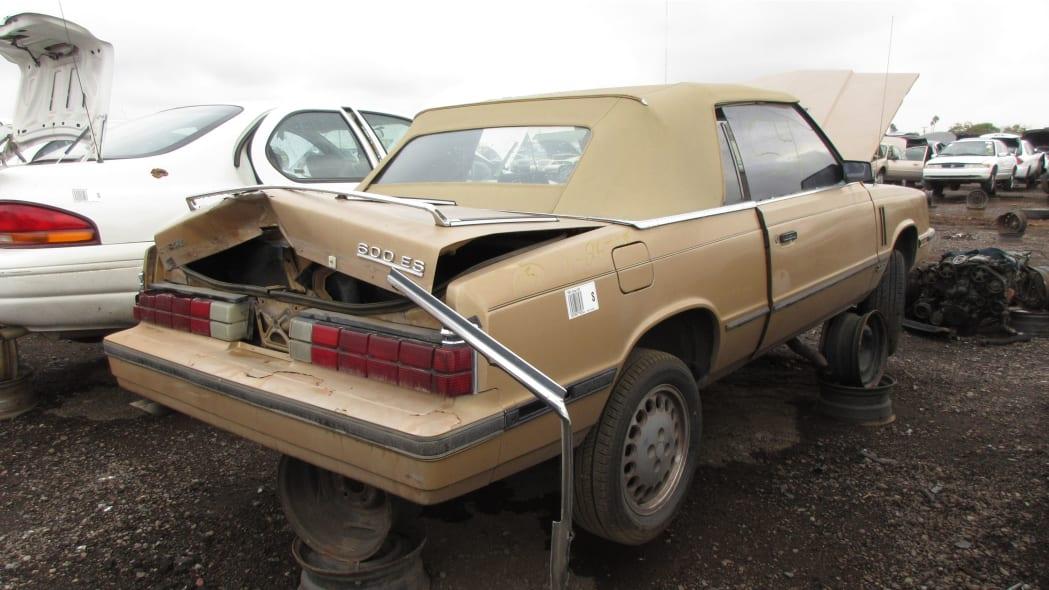 02 - 1985 Dodge 600 convertible in Arizona wrecking yard - photo by Murilee Martin