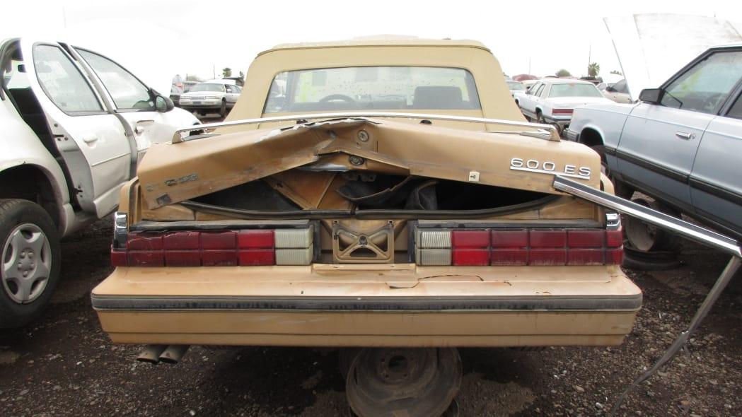 07 - 1985 Dodge 600 convertible in Arizona wrecking yard - photo by Murilee Martin
