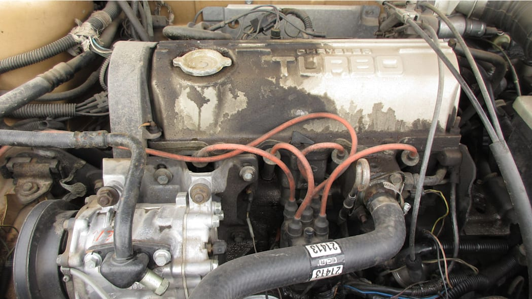 12 - 1985 Dodge 600 convertible in Arizona wrecking yard - photo by Murilee Martin