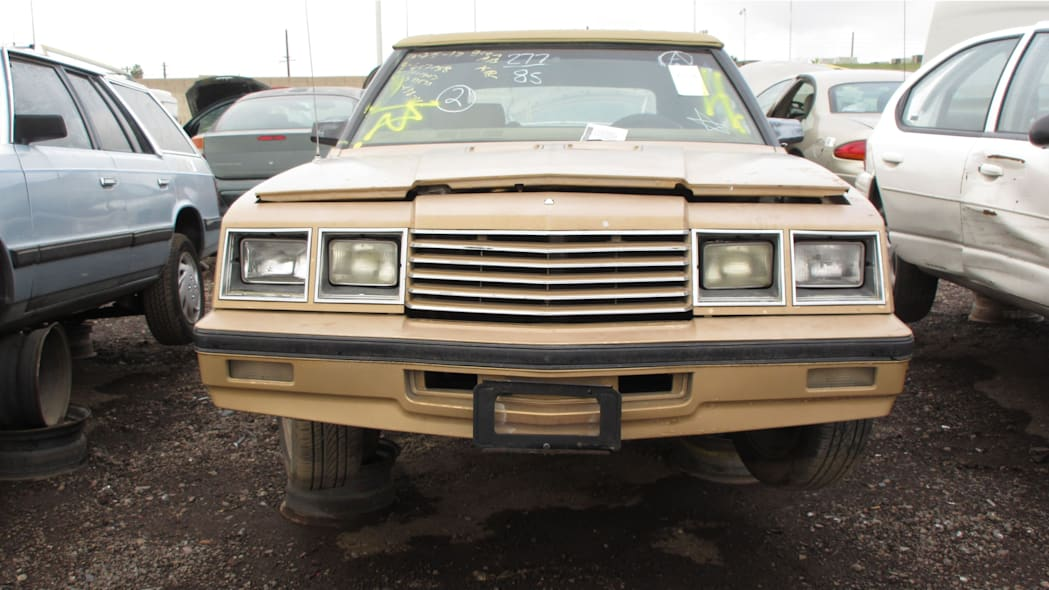 21 - 1985 Dodge 600 convertible in Arizona wrecking yard - photo by Murilee Martin