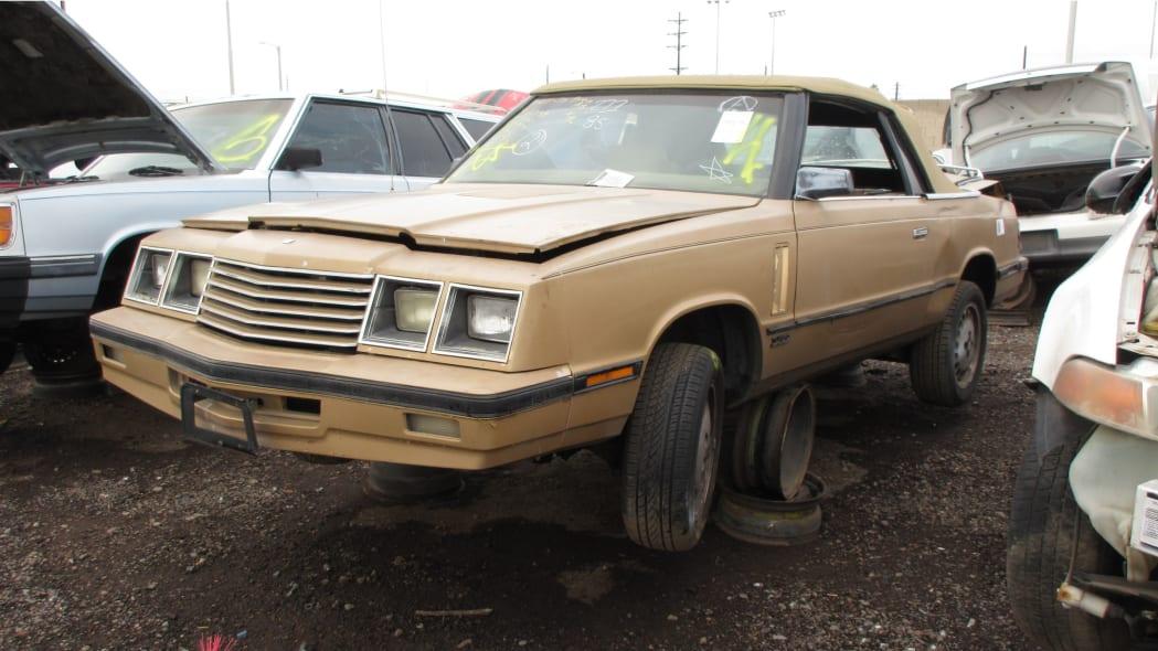 23 - 1985 Dodge 600 convertible in Arizona wrecking yard - photo by Murilee Martin