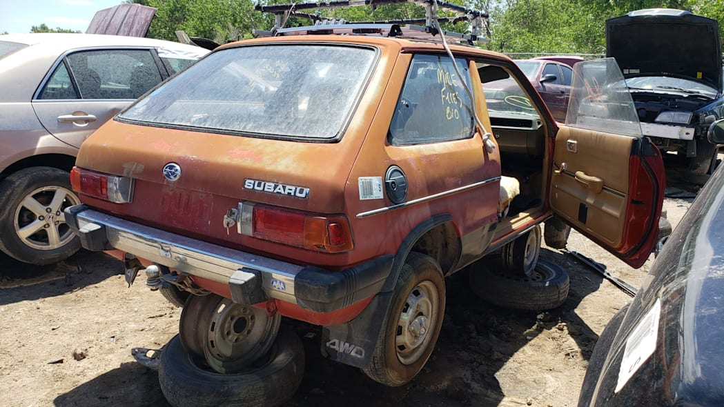 23 - 1980 Subaru in Colorado wrecking yard - photo by Murilee Martin