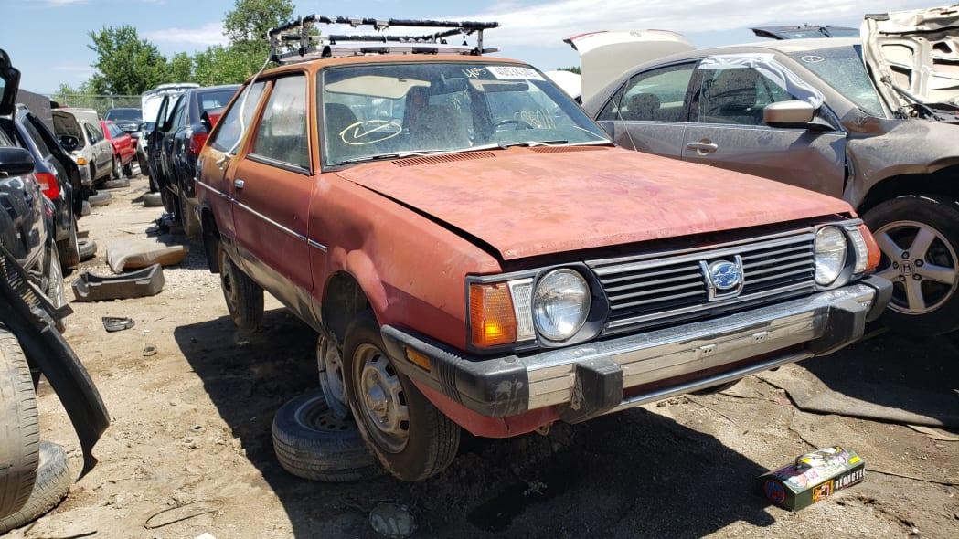40 - 1980 Subaru in Colorado wrecking yard - photo by Murilee Martin