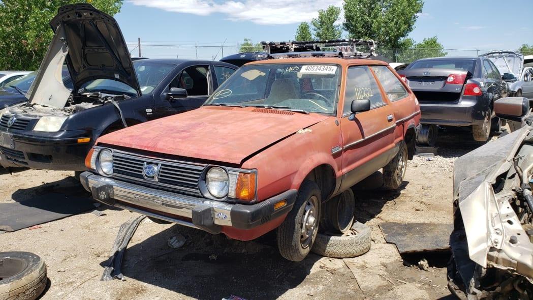 43 - 1980 Subaru in Colorado wrecking yard - photo by Murilee Martin