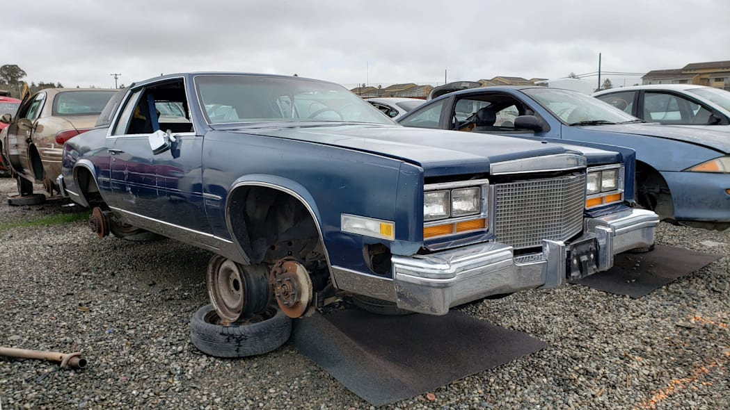 18 - 1981 Cadillac Eldorado in California wrecking yard - photo by Murilee Martin