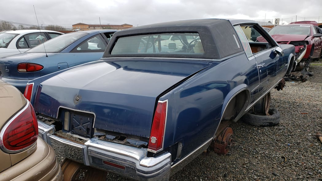 22 - 1981 Cadillac Eldorado in California wrecking yard - photo by Murilee Martin
