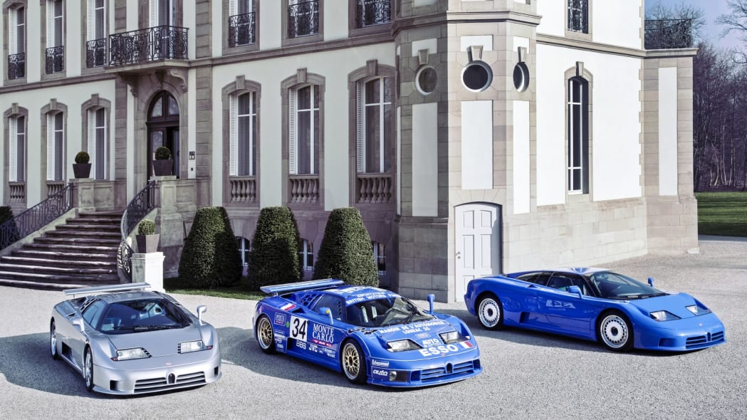 Bugatti  EB110 model range. Chateau Jean Molsheim.