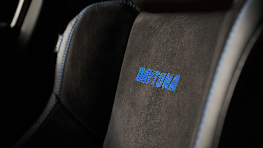 Daytona cues are seamlessly integrated into the interior with un