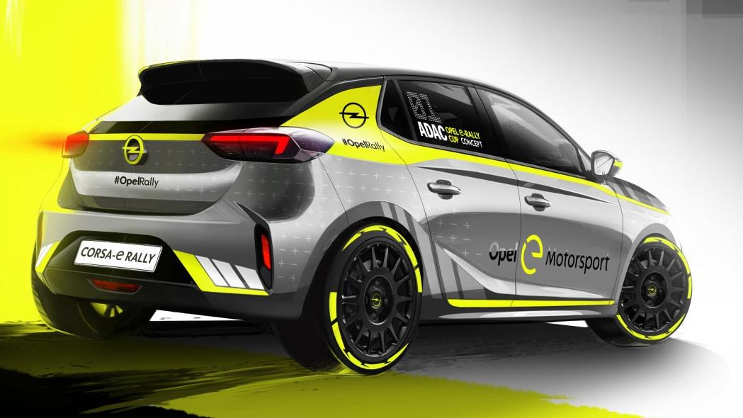 Opel Corsa-e rally car exterior