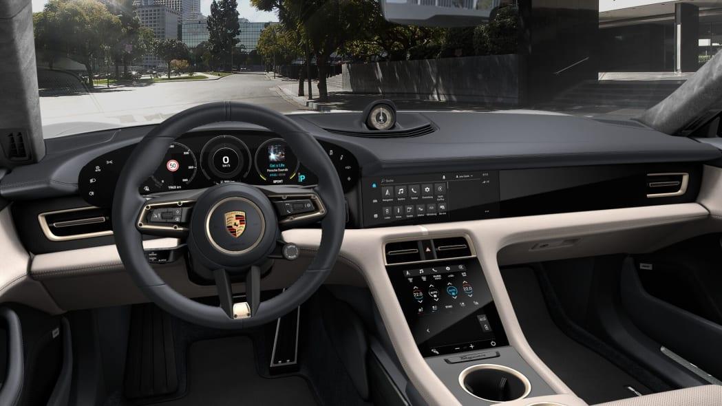 2020 Porsche Taycan Olea Club black and beige leather interior