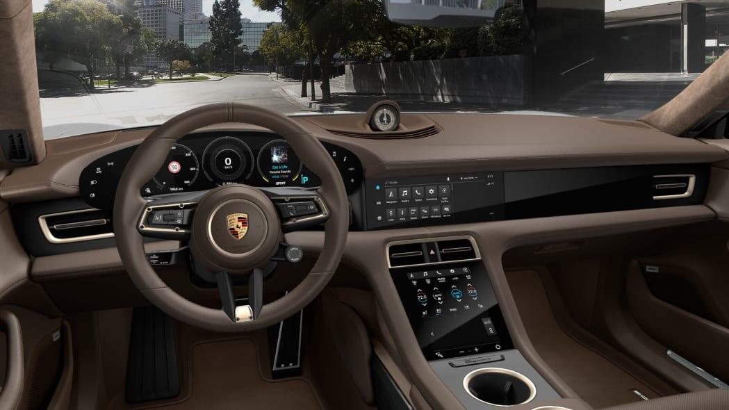 2020 Porsche Taycan Olea Club brown leather interior