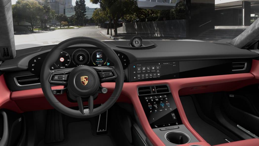 2020 Porsche Taycan red leather interior