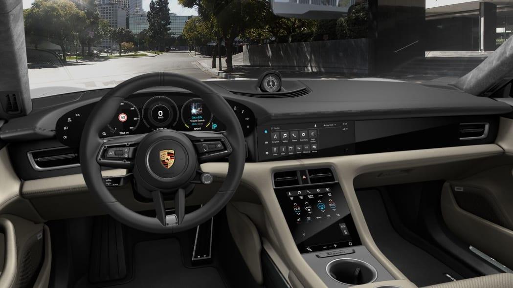 2020 Porsche Taycan beige leather interior