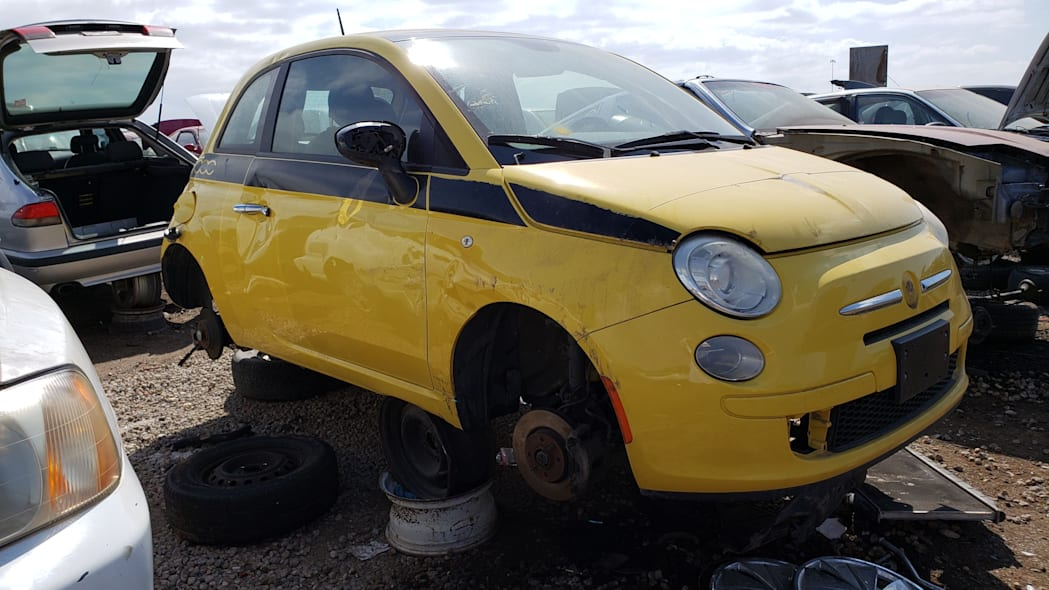 00 - 2012 Fiat 500 in Colorado wrecking yard - photo by Murilee Martin