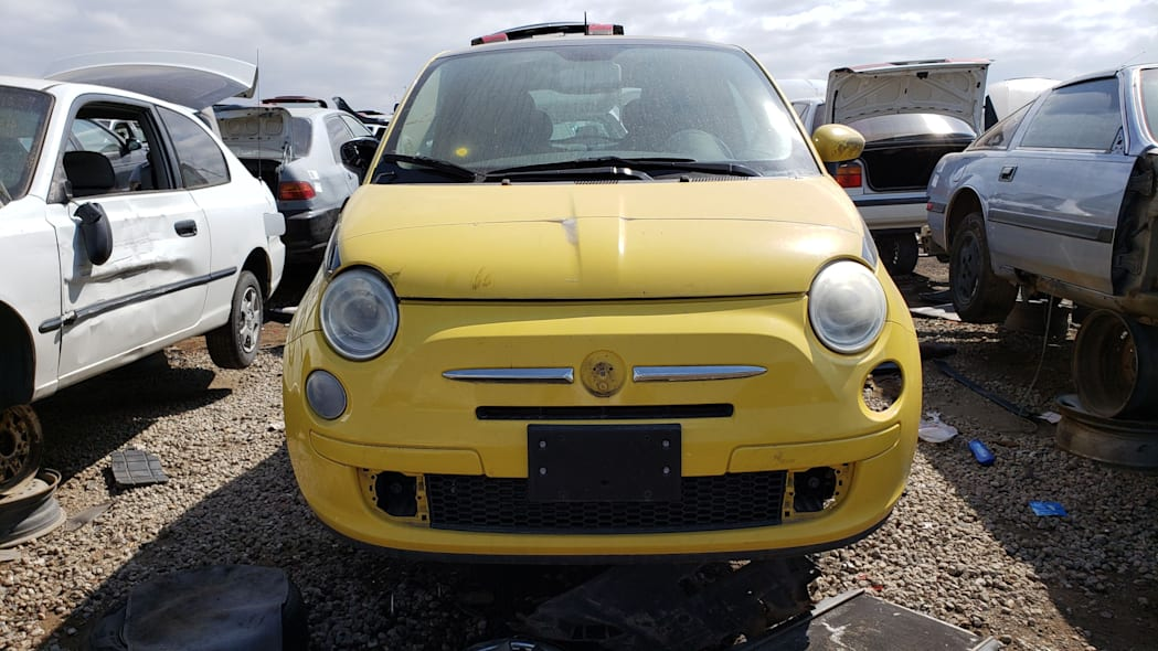 17 - 2012 Fiat 500 in Colorado wrecking yard - photo by Murilee Martin