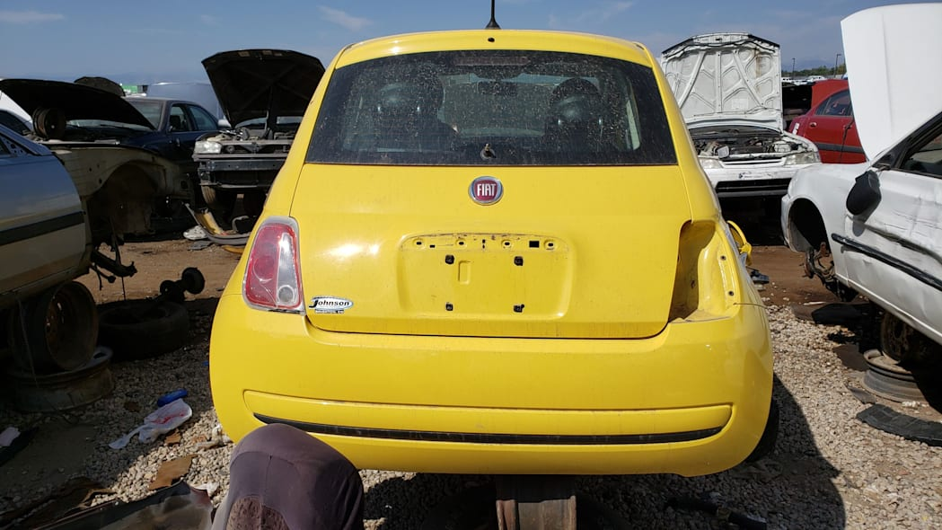 23 - 2012 Fiat 500 in Colorado wrecking yard - photo by Murilee Martin