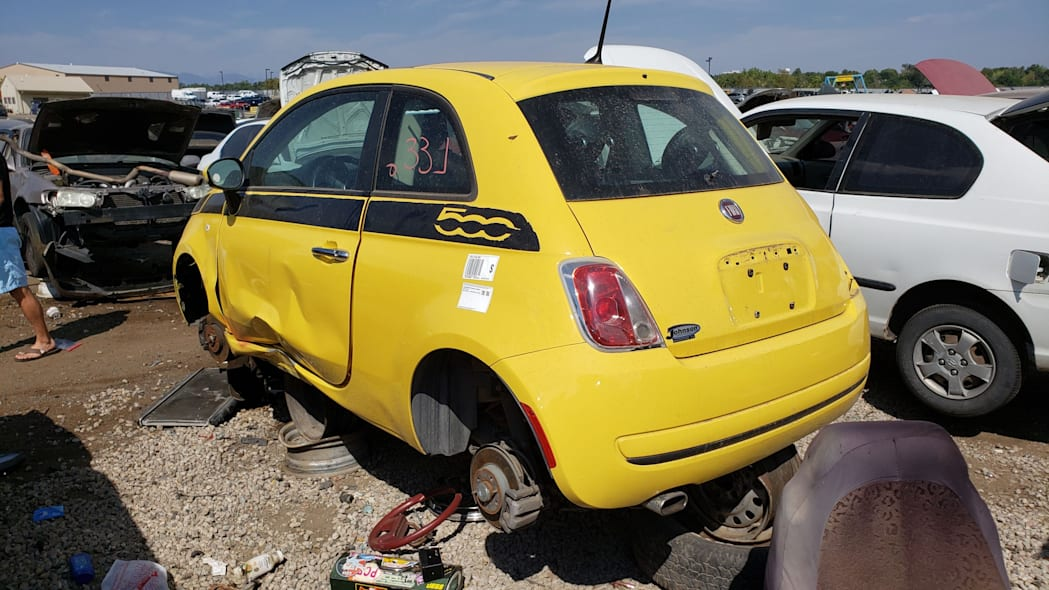 25 - 2012 Fiat 500 in Colorado wrecking yard - photo by Murilee Martin