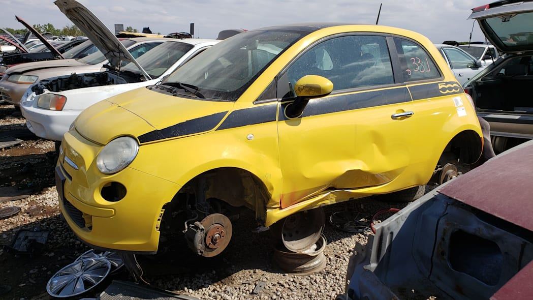 28 - 2012 Fiat 500 in Colorado wrecking yard - photo by Murilee Martin