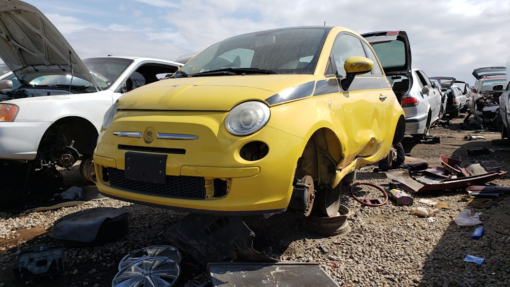 30 - 2012 Fiat 500 in Colorado wrecking yard - photo by Murilee Martin