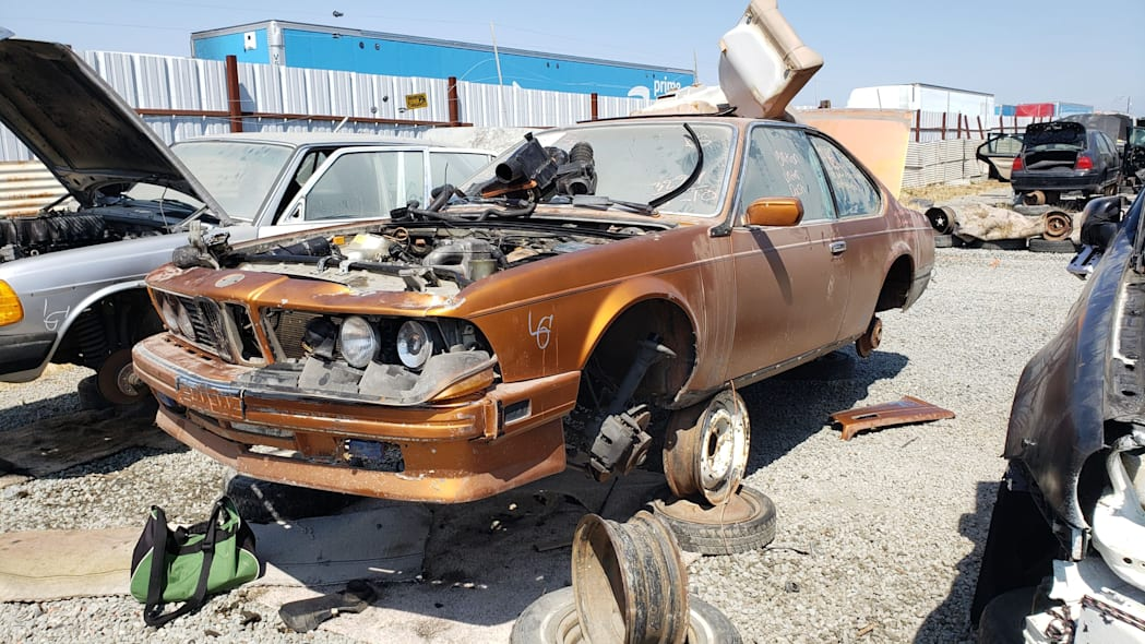 12 - 1989 BMW 635CSi in California wrecking yard - photo by Murilee Martin